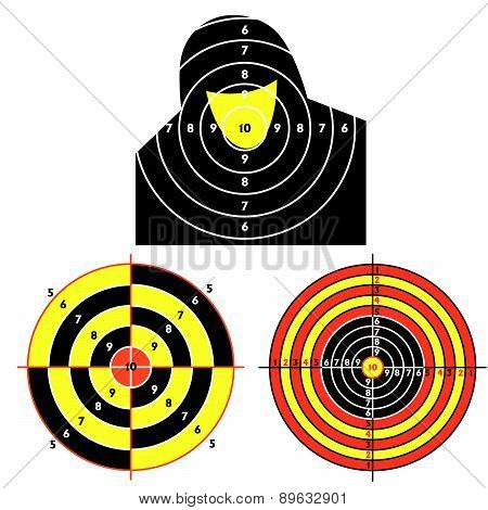 Set targets for practical pistol shooting, exercise.