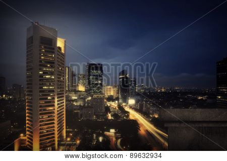 Jakarta City Nightscape Background