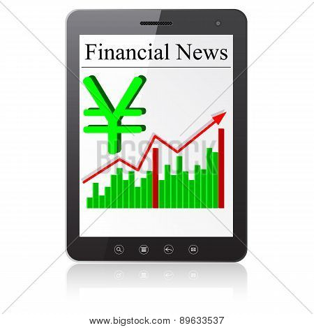 Financial News yena on Tablet PC. Isolated on white.