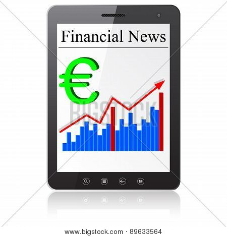 Financial News euro on Tablet PC. Isolated on white.
