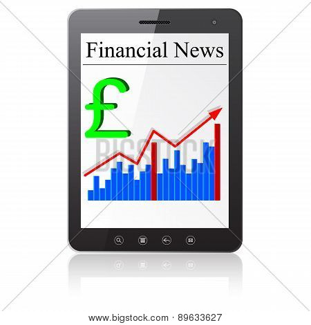 Financial News sterling on Tablet PC. Isolated on white.