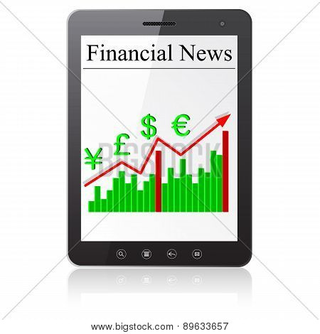 Financial News on Tablet PC. Isolated on white.