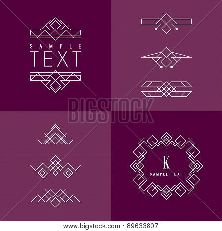 Vector Frame And Design Elements. Mono Line Geometric Design Template