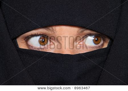 Example Picture Islam. Muslim Veiled Woman With A Burqa.