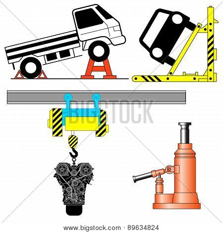 Set device for lifting a car repair. Vector illustration.