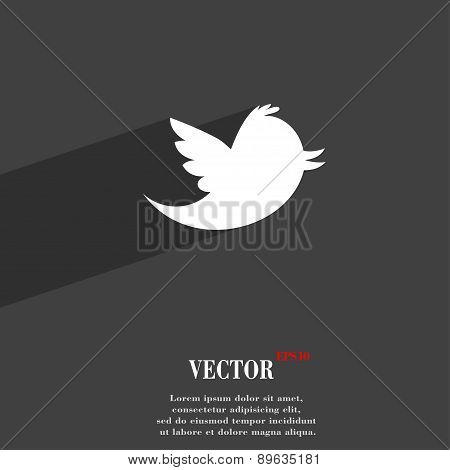 Social Media, Messages Twitter Retweet Icon Symbol Flat Modern Web Design With Long Shadow And Space