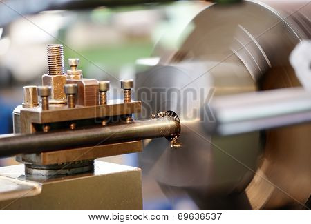 Close Up Of Lathe In Operation