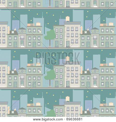 Night City Scape Seamless Pattern
