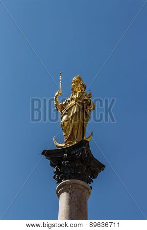 Marian Column Of Munich At Marienplatz, Germany, 2015