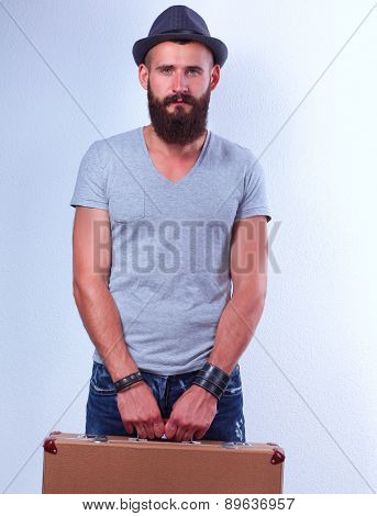 Portrait of handsome bearded man  isolated on white background