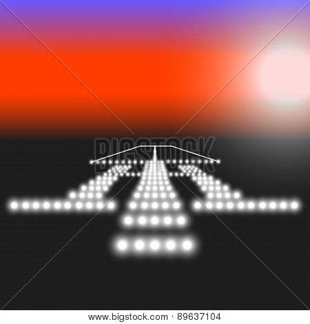 Landing lights. Vector illustration.