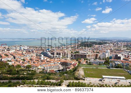 Aerial View Of Almada Rooftop From Christo Rei Statue  In  Lisbon - Portugal