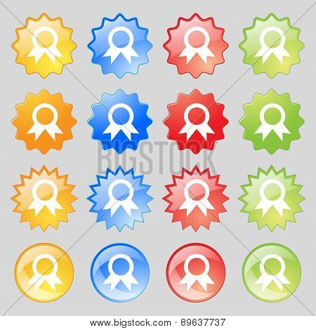Award, Prize For Winner Icon Sign. Big Set Of 16 Colorful Modern Buttons For Your Design. Vector