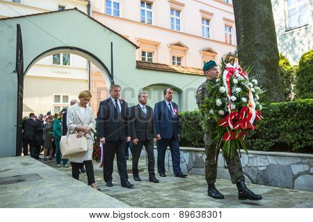 KRAKOW, POLAND - MAY 3, 2015: Officials at ceremony of laying flowers to the monument to Hugo Kollataj during annual Polish national and public holiday the May 3rd Constitution Day (of May 3, 1791)