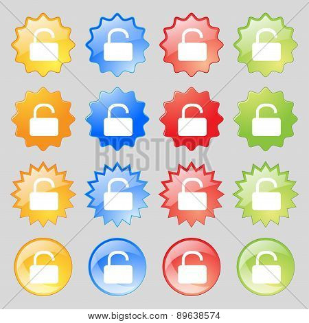 Open Padlock Icon Sign. Big Set Of 16 Colorful Modern Buttons For Your Design. Vector