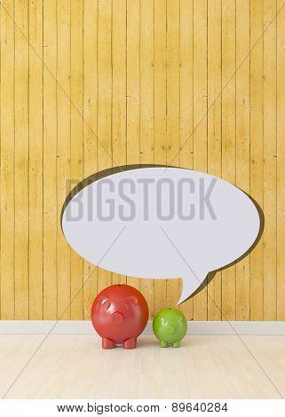 Small Piggy With Speech Bubble, Communication Concept
