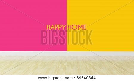 Happy Home Text On Dualtone Color Wall