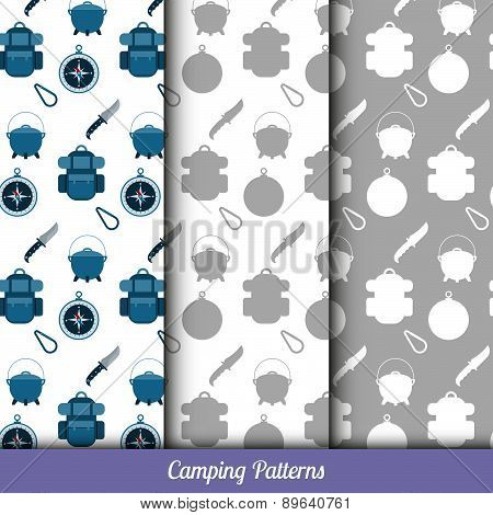 Seamless Pattern On The Camping Theme, Has Three Backgrounds.