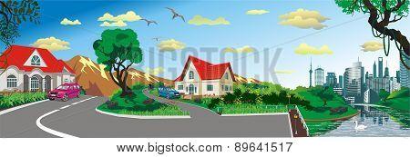 Landscape - Rural Village At The Pond [