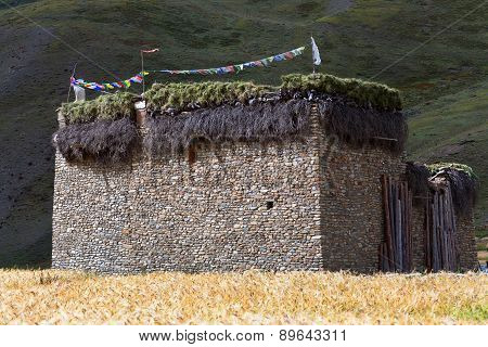 Traditional Tibetan House In Dho Tarap Village, Nepal