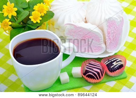Cup Of Coffee With Marshmallows And Chocolate Candies