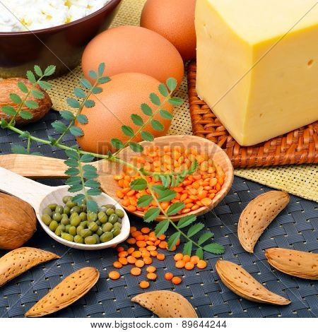 Protein Food, Eggs, Almonds, Lentils, Cheese, Walnut, And Curd