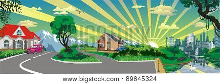 Skyline - Panorama, Country Village At The Pond [