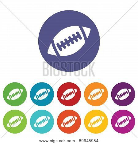 Rugby ball icon set