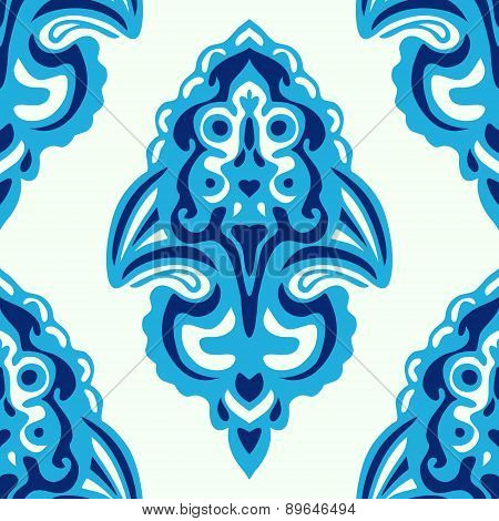Blue Seamless abstract tiled damask pattern
