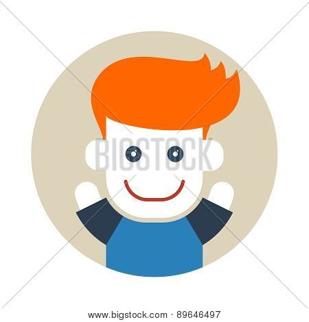 Flat style red-haired boy