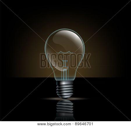 Incandescent Lamp On A Dark Background
