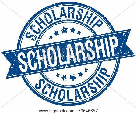 Scholarship Grunge Retro Blue Isolated Ribbon Stamp
