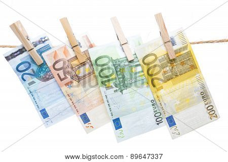 Euro Banknotes Hanging From A Rope