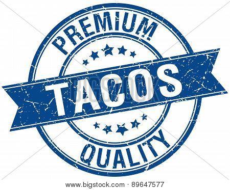 Tacos Grunge Retro Blue Isolated Ribbon Stamp
