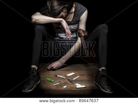 Young Woman Poses As Drug Addict.