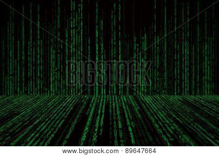 Matrix Background With The Green Symbols, Motion Blur