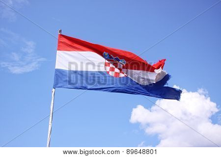 The Flag Of Croatia On Blue Sky
