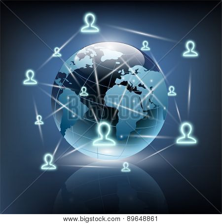Social Network Around The Planet Earth
