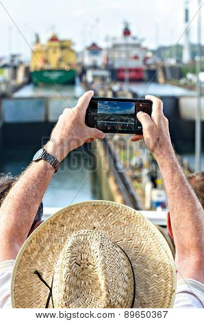Tourists Shoot A Photograph The Panama Canal