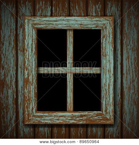 Wooden Window Of An Old Abandoned Building