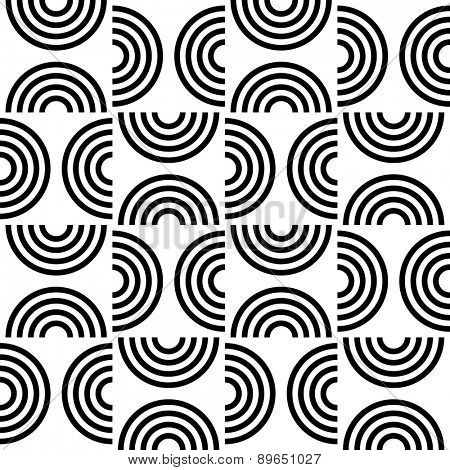 Seamless Semicircle Pattern. Abstract Black and White Background. Vector Regular Texture