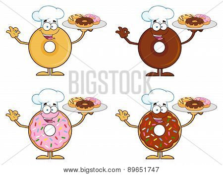Four Cute Donuts Cartoon Character 9. Collection Set