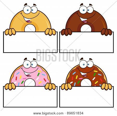 Four Cute Donuts Cartoon Character 12. Collection Set