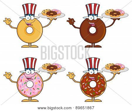 Four Cute Donuts Cartoon Character 11. Collection Set