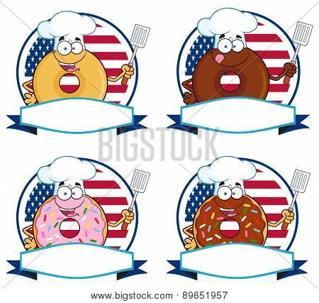 Donut Cartoon Character Circle Label 6. Collection Set