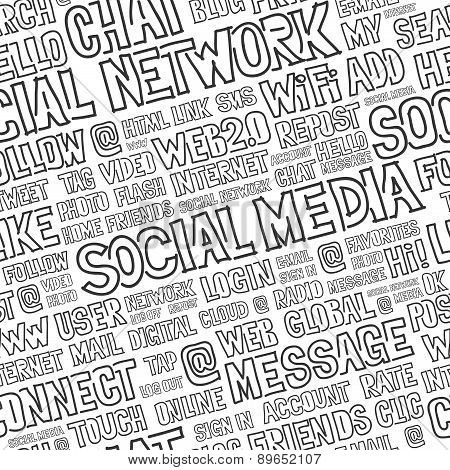Social Media Words Seamless Pattern