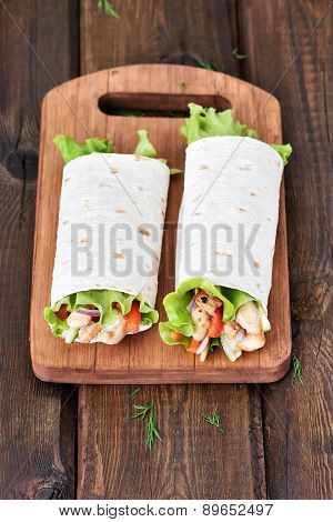 Wrap Sandwiches With Chicken Meat