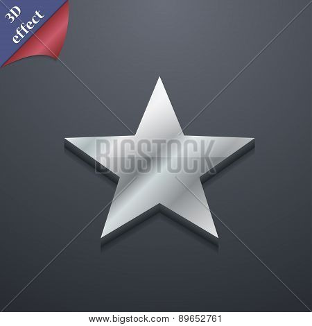 Star, Favorite Icon Symbol. 3D Style. Trendy, Modern Design With Space For Your Text Vector