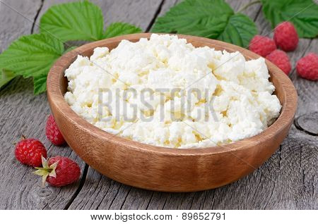 Curd Cheese In Wooden Bowl