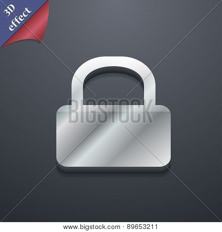 Pad Lock Icon Symbol. 3D Style. Trendy, Modern Design With Space For Your Text Vector